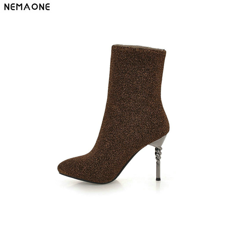 NEMAONE New shiny high heels shoes woman ankle boots ladies autumn winter boots party dress shoes woman large size 41 42 43