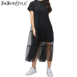Image 5 - TWOTWINSTYLE Summer Korean Splicing Pleated Tulle T shirt Dress Women Big Size Black Gray Color Clothes New Fashion 2020