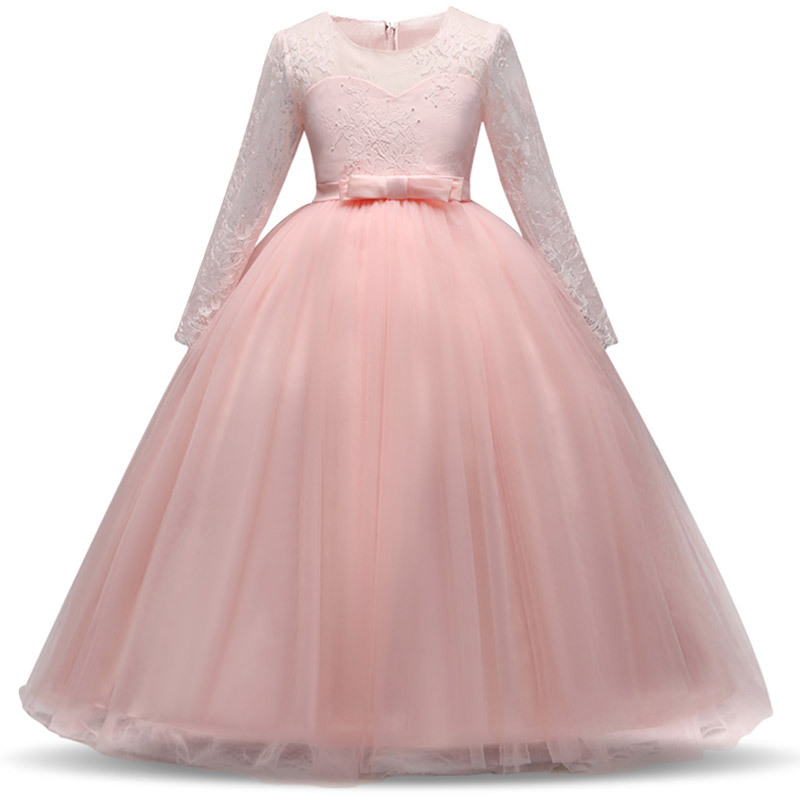 Teens Party Prom Dress Wedding Flower Girl Lace Dresses Kids Girls Elegant Princess Long Sleeve Pageant Formal Children Clothing 15 color infant girl dress baby girl pageant dress girl party dresses flower girl dresses girl prom dress 1t 6t g081 4