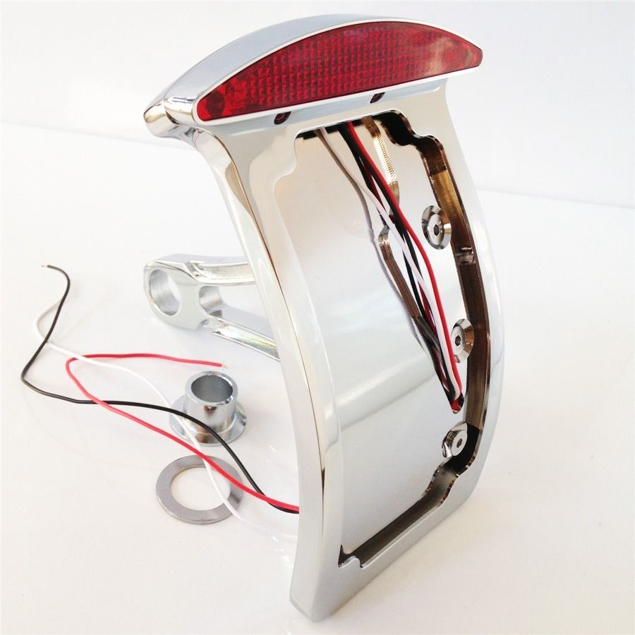 Chromed Curve License Plate LED Tail Brake Light fit for Side Mounted Verticle aftermarket free shipping motorcycle parts black curve license plate tail brake light fit for side mounted