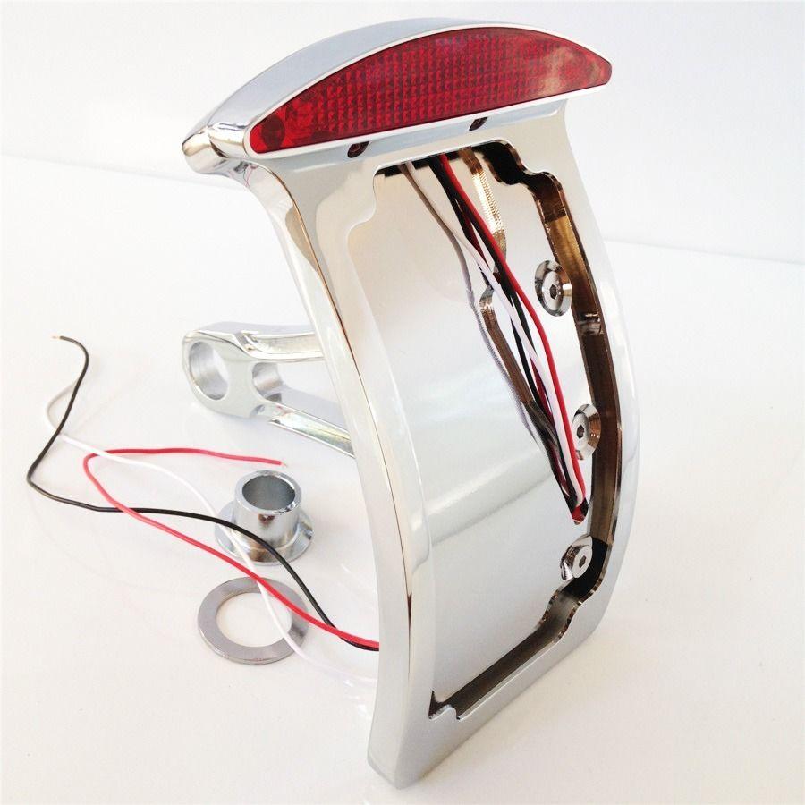 Plaque d'immatriculation à courbe chromée LED feu de frein arrière adapté à la verticale montée sur le côté