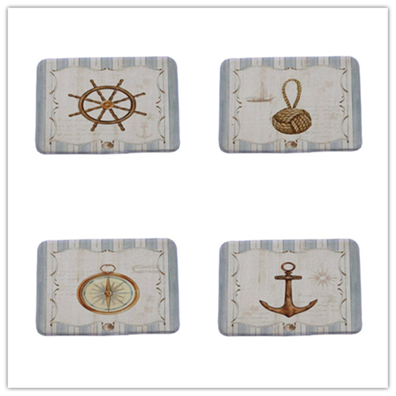 Door Mat Artistic Designer Vintage Helm Compass Boat Anchor Pattern Area Rugs for Home Hallway Stair Kitchen Carpet