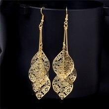SHUANGR dangle earrings for women jewelry Fashion jewelry luxurious Gold Color Hollw Water drop Earrings wholesale