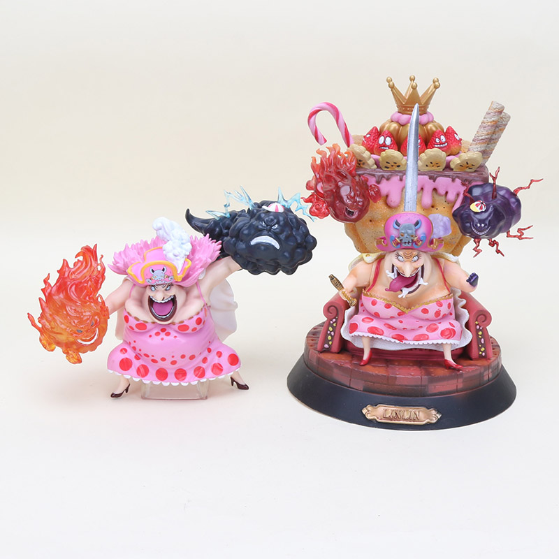 14cm 25cm Anime One Piece Big Mom figure toy Four Emperors Charlotte Linlin Battle Ver PVC