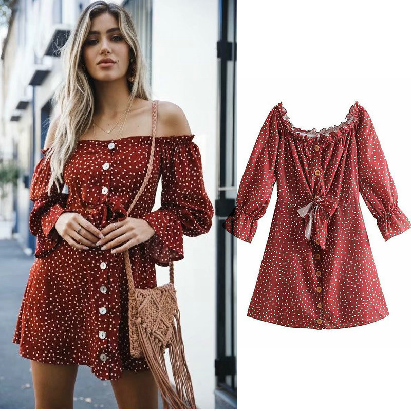 sweet new women dress a line long sleeve slash neck flare sleeve summer bow tie pleated ladies dresses mini dot print vestidos in Dresses from Women 39 s Clothing