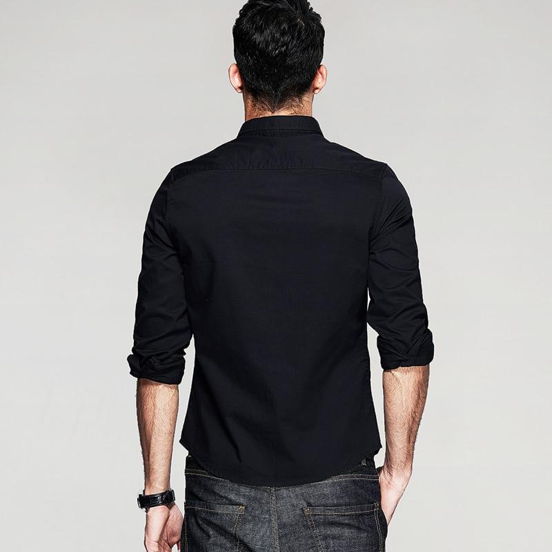 KUEGOU Jesenske moške priložnostne majice Patchwork črna barva - Moška oblačila - Fotografija 5