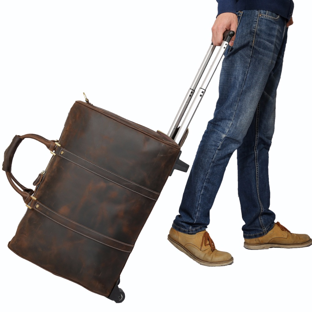 Tiding Leather Travel Luggage Bags Cowhide Suitcase On Wheels Retro Style Rolling Duffle Bag Cross Body bag 11883 2pcs travel bags replacement luggage suitcase wheels left