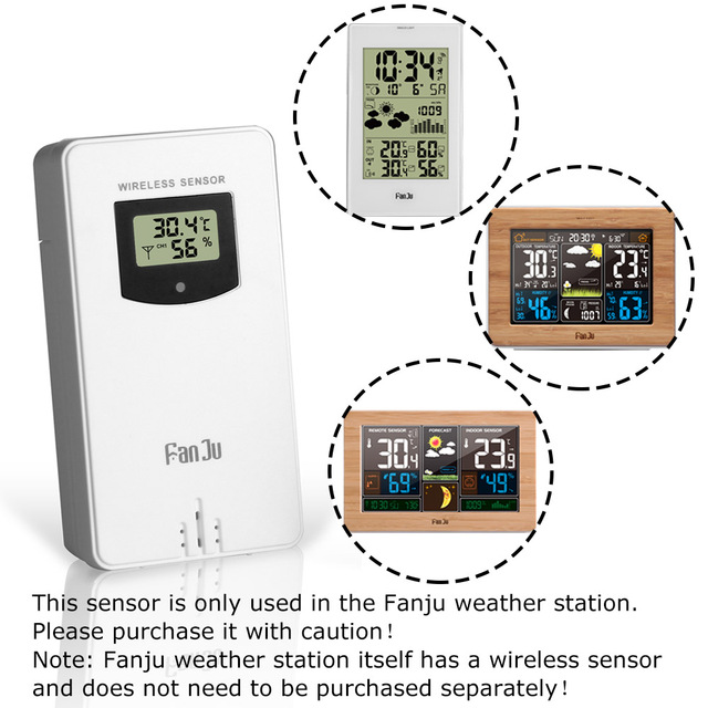 Fanju Temperature Humidity Wireless Sensor Meter Hygrometer Electronic Digital Thermometer In/Outdoor Used with Weather Stations