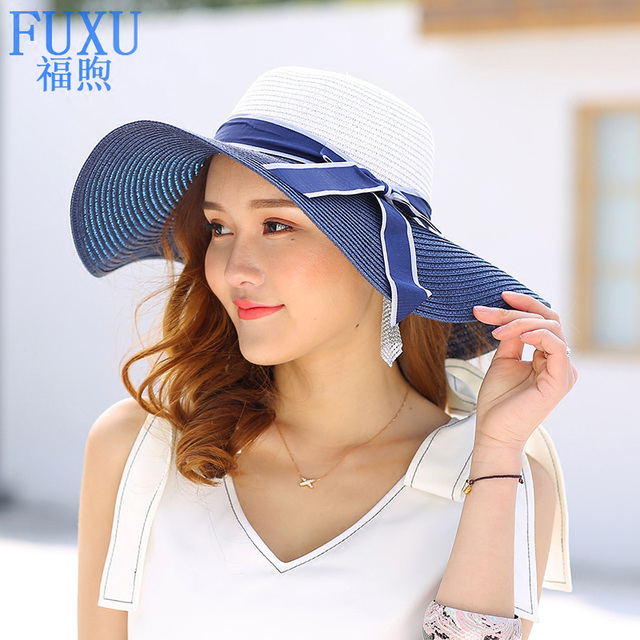 Summer new woman s wide large brim bucket hat sunscreen sun hat Straw  tourism beach bowknot hat lady girls basin cap casual df3b3819ee11