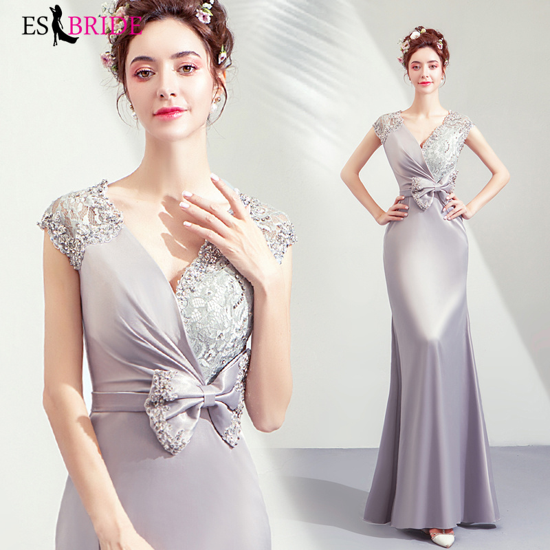 New Arrival Ladies Long Evening Dresses 2019 Women Elegant Sleeveless Sexy V-Neck Plus Size Formal Gowns Robe De Soiree ES2177