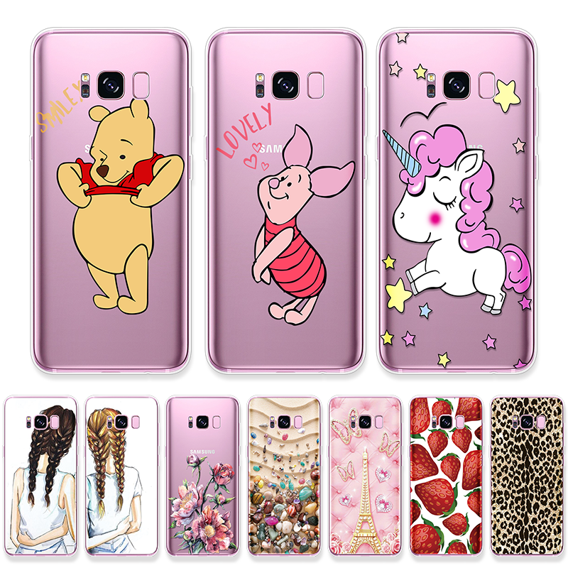 Cartoon Unicorn Case For Samsung Galaxy S10 Plus S4 S5 Mini S6 S7 Edge Plus S8 S9 Plus S10e M10 M20 M30 Leopard Patterned Fundas image