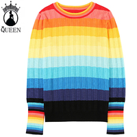 NEW Women Jumper Winter Christmas Sweater Rainbow striped Pullover Tops Coat Womens Ladies Sweaters Clothing streetwear