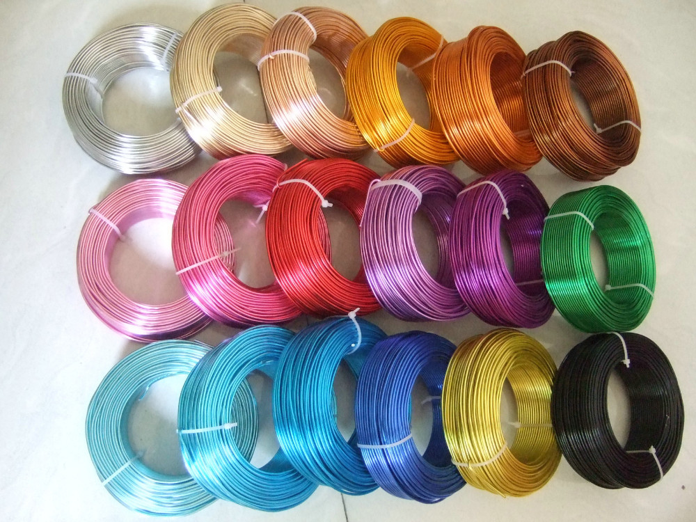 50Meters / Roll Multi Color 2mm Round Aluminium Carft Floristry Wire For Jewellery Beads Making Findings