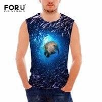 FORUDESIGNS New Summer Men S Tank Top Men Fitness Vest 3D Dolphin Sea Animal Sleeveless Shirts