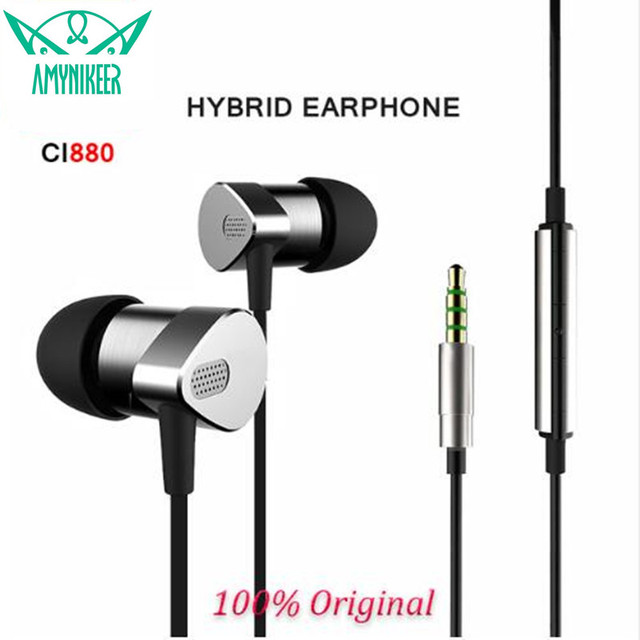 E-MI CI880 hybrid earphones metal manufacturing shocking sound quality HIFI copper wires Headset More than hybrid PRO