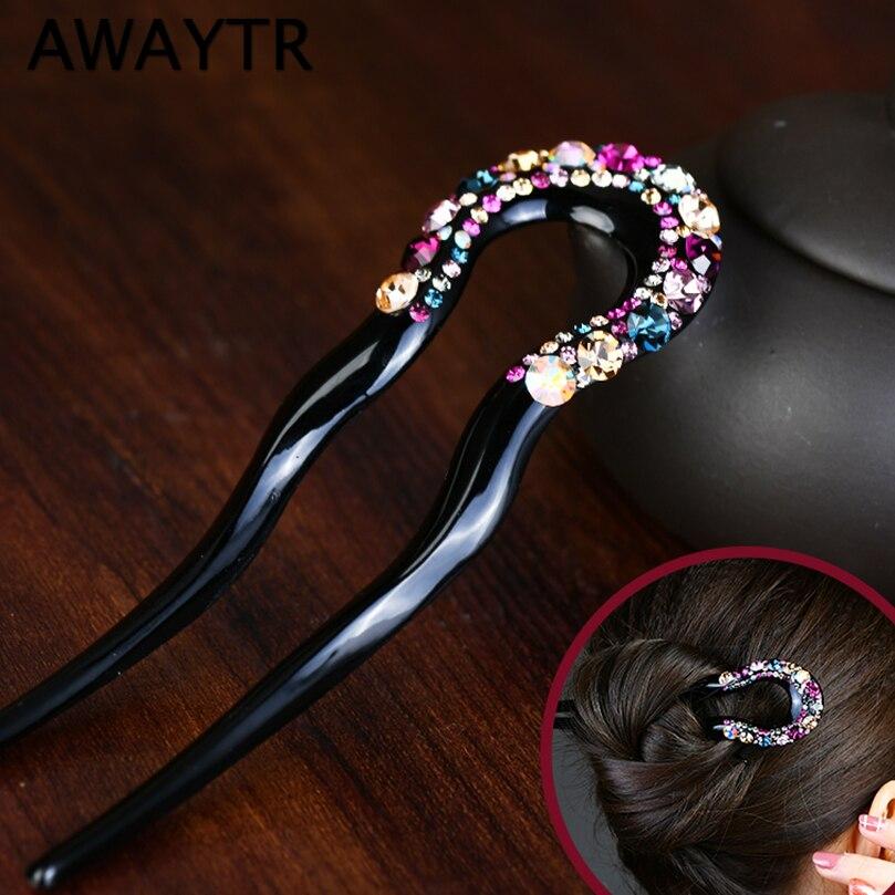AWAYTR Fashion U-shaped Rhinestone Hairpin Hair Sticks For Women Tiara Adult Lady Retro Simple Hairclips Daily Hair Accessories