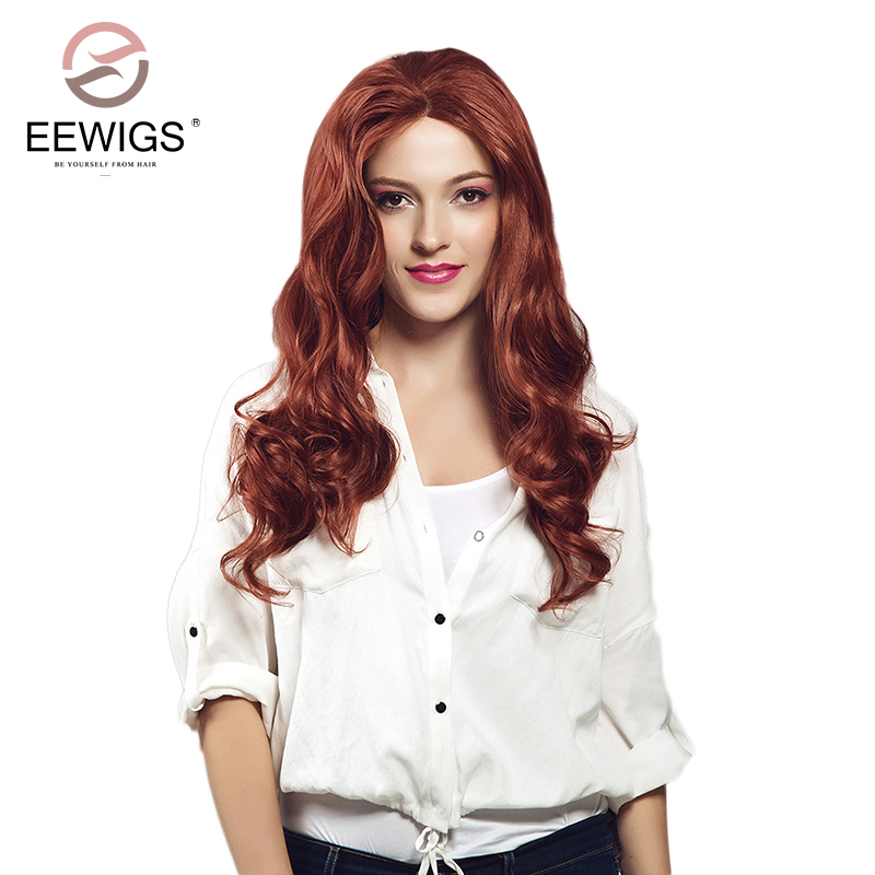 EEWIGS Copper Red Wig Long Synthetic Lace Natural Wave Wig Synthetic Lace Front Wig Aubu ...
