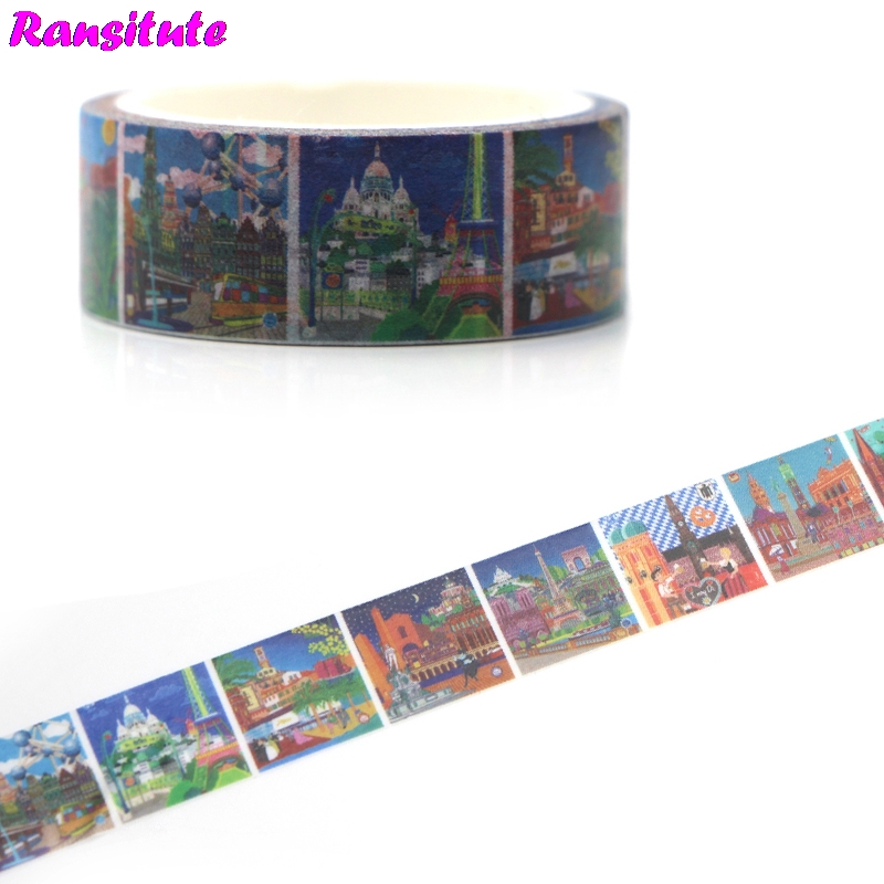 Ransitute R462 Castle Oil Painting Washi Paper Tape Manual DIY Decorative Paper Tape Color Tape Book Hand Sticker