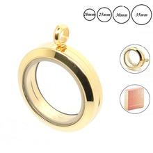 20 мм 25 мм 30 мм 35 мм золото 316L нержавеющая сталь подвешиваемый кулон стеклянный медальон