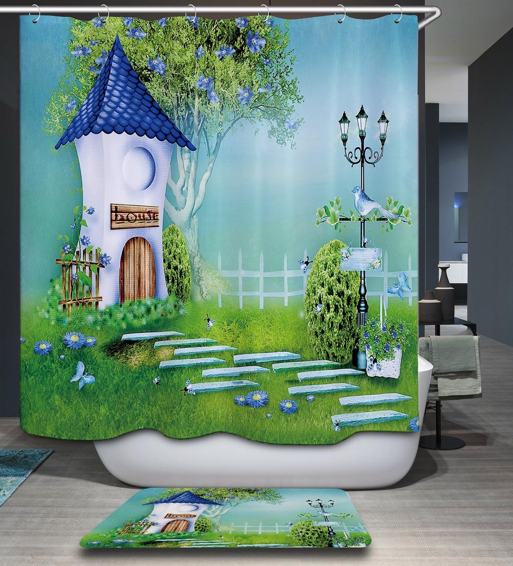 Homing Kid Cartoon City Scenery Polyester Waterproof 12pc Hooks Shower Curtain Mildew Resistant Bath Curtain Home Bathroom Decor