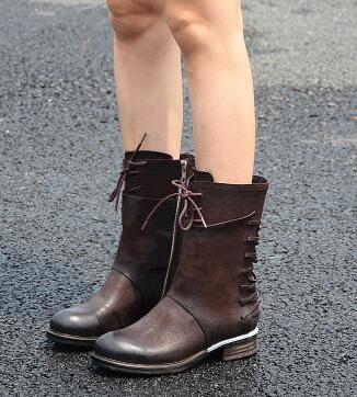 2017 vintage leather multi straps boots desinger mid-calf boots women's cool combat boots top quality unique style shoes double buckle cross straps mid calf boots