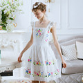Spring summer new arrival embroidery flower drawstring bow lace fluid fresh white princess one-piece dress