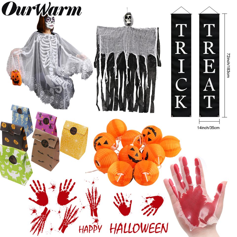 US $1 79 OurWarm Halloween Decorations Haunted House Props Lace Table Cover Fireplace Mantel Scarf Hanging Ghost Halloween Party Supplies Party DIY