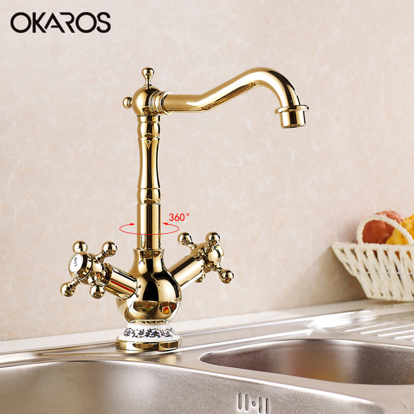 OKAROS Kitchen Bathroom Faucet Gold Finish Brass Basin Faucet Tap Vessel Sink Tap Mixer 360 Degree Rotation Dual Handle Torneira golden brass kitchen faucet dual handles vessel sink mixer tap swivel spout w pure water tap
