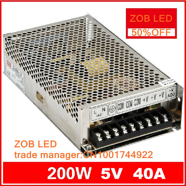 200W LED Switching Power Supply,85-265AC input,40A/5v ,For LED Strip light,ce rosh  power suply 5V Output 2pcs/lot 1200w 48v adjustable 220v input single output switching power supply for led strip light ac to dc