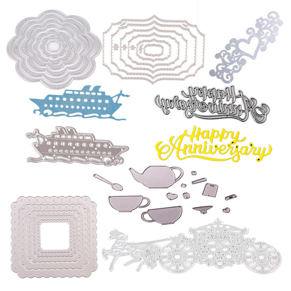 26pcs/Set Alphabet Flower Tree Square Fence Love Word Dies Cut Embossing Scrapbooking Craft Create Stamps Paper Album Stencil