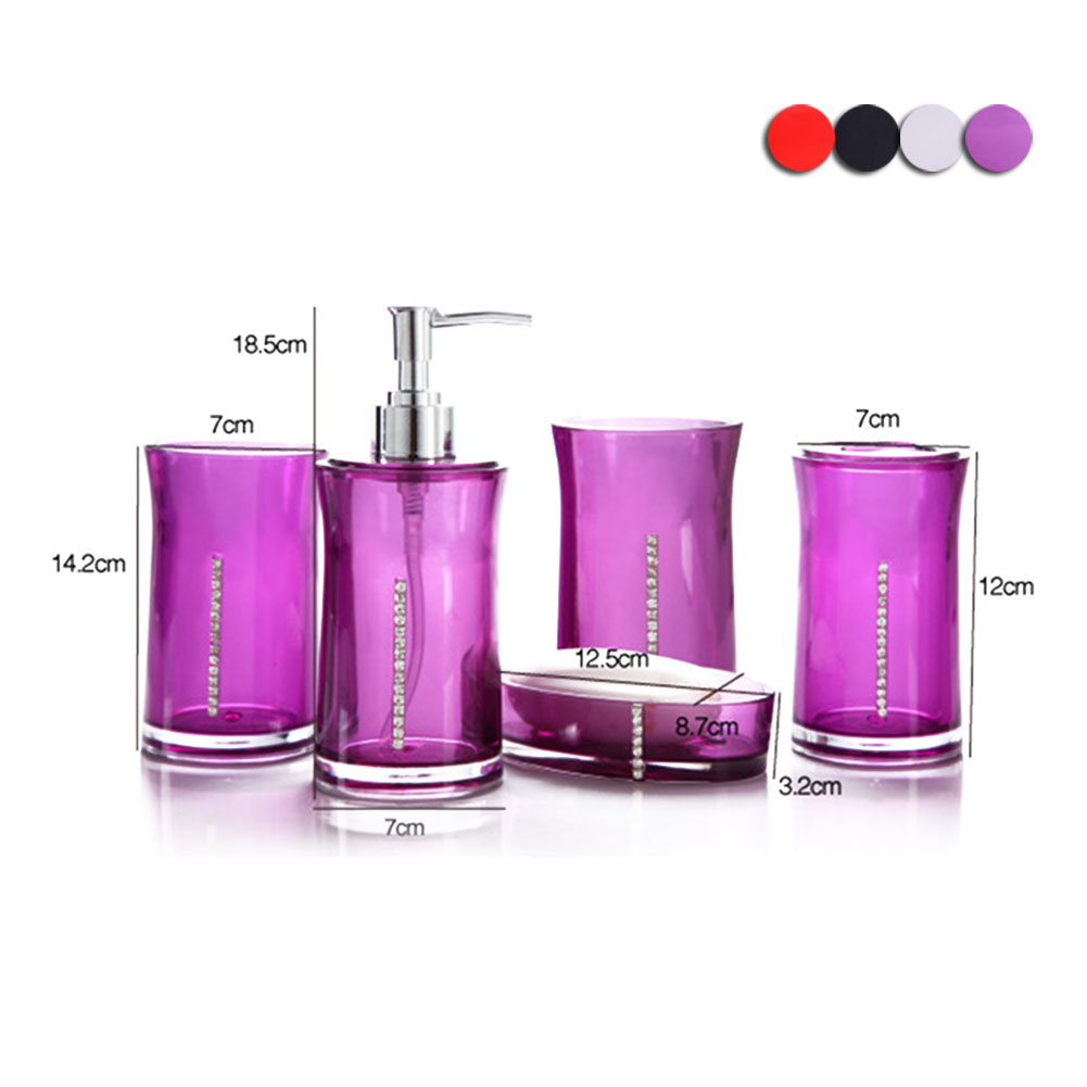 Acrylic 4 Piece Bathroom Accessory Set Soap Dispenser Bottle Soap