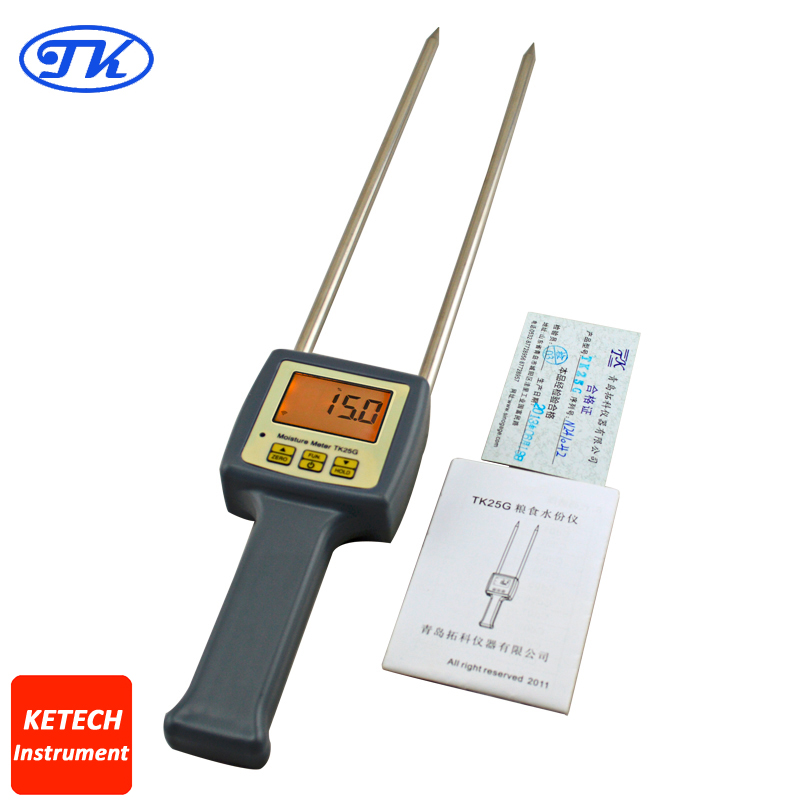 TK25G Portable Digital Grains Moisture Meter For Barley, Corn,Hay,Oats,Rapeseed,Rough Rice,Sorghum,Soybeans and Wheat mc 7806 digital moisture analyzer price with pin type cotton paper building tobacco moisture meter