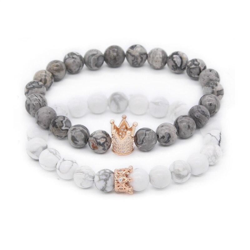 Poshfeel 2 unids/set pareja pulseras para los amantes corona reina encanto piedra perlas pulseras para mujeres y hombres regalo de joyería