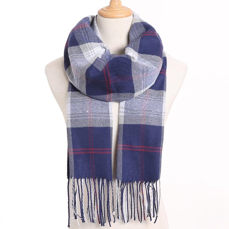 [VIANOSI] клетчатый зимний шарф женский тёплый платок одноцветные шарфы модные шарфы на каждый день кашемировые шарфы - Цвет: 27