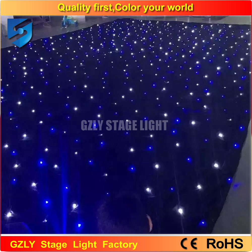 Cheap black stage curtains - Free Shipping Star Sky 6mx3m Black Cloth White Blue Color Leds Star Curtain China