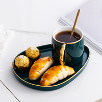 Japanese paint luxury coffee cups and saucers suit to afternoon tea dessert plate ceramic mug cup with spoon