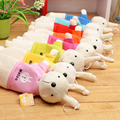 Candice guo Metoo cute Rabbit Pencil bag plush doll toy colorful stationery birthday gift small package 3pcs/lot send randomly!