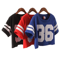 Summer Style Women T Shirt Celebrity Number 36 Print Tops Short Loose Hip Hop American Baseball
