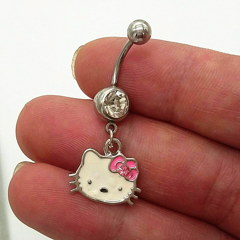 316l Steel hello Kitty Navel Belly Button Rings Piercing Fashion Nombril Ombligo For Women Body Jewelry