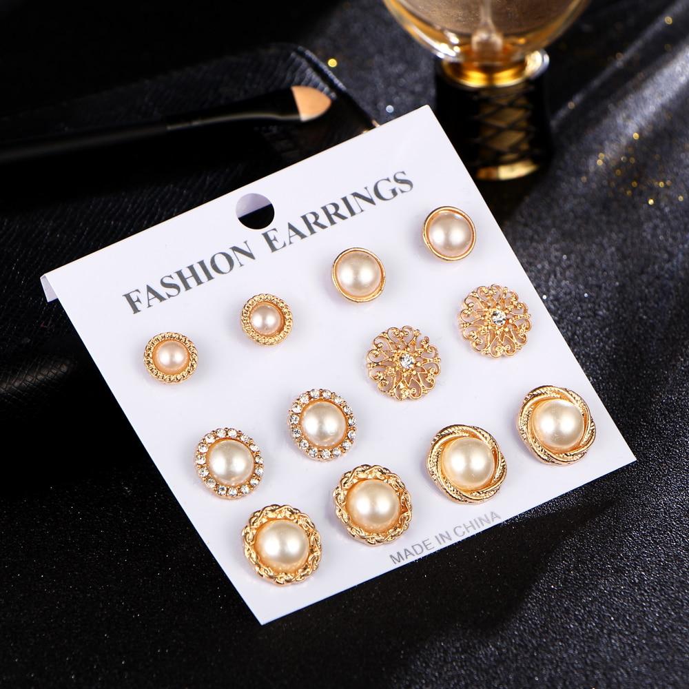 17KM Złoty Kolor Kwiat Hollow Stud Kolczyk Vintage Crystal - Modna biżuteria - Zdjęcie 5