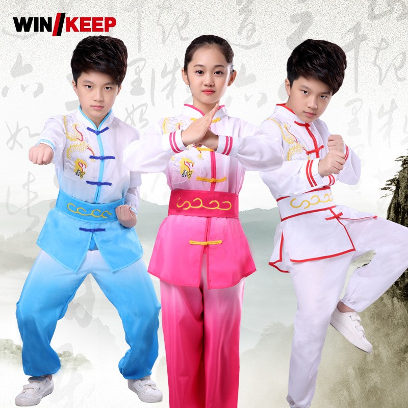 Kids Embroidery Kung Fu Perform Uniform Boys Girls Trainers Tai Chi Clothing Tracksuit Child Belted Martial Arts Sets Sportswear
