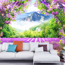 beibehang Custom personalized three-dimensional wall paper fashion fresh lavender flower v
