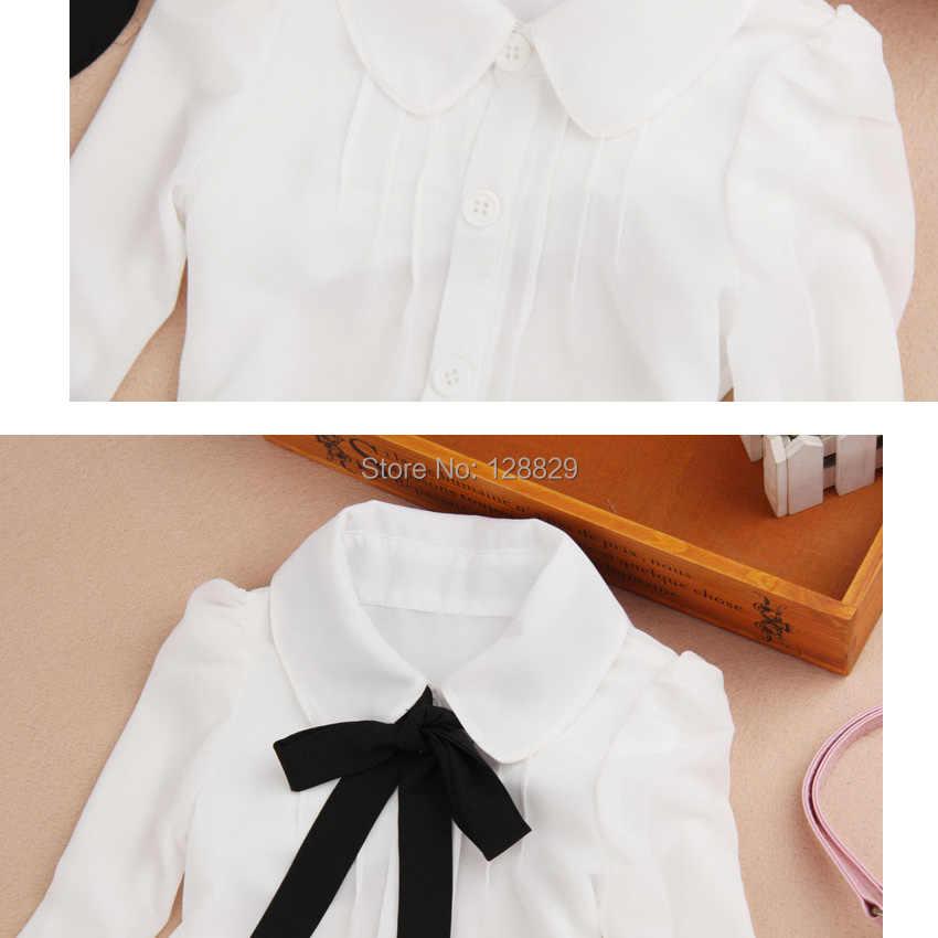シャツ用女の子シフォン十代の学校制服大きな子供フォーマット白いブラウス弓フルスリーブベビー服良い品質女の子トップ