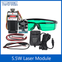 5500mw Laser Module 450NM Focusing Blue Laser Head Laser Engraving and Cutting TTL Module 5.5w Laser Tube Free Goggles