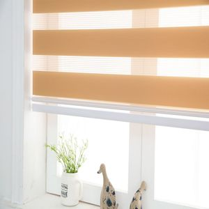 Image 4 - Zebra Blinds Horizontal Window Shade Double layer Roller Blinds Window Custom Cut to Size Khaki Curtains for Living Room