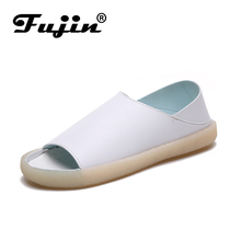 Fujin Women Flats  2019 Spring New Fashion Peep Toe Shoes PU 4 Color Summer Ladies Casual White