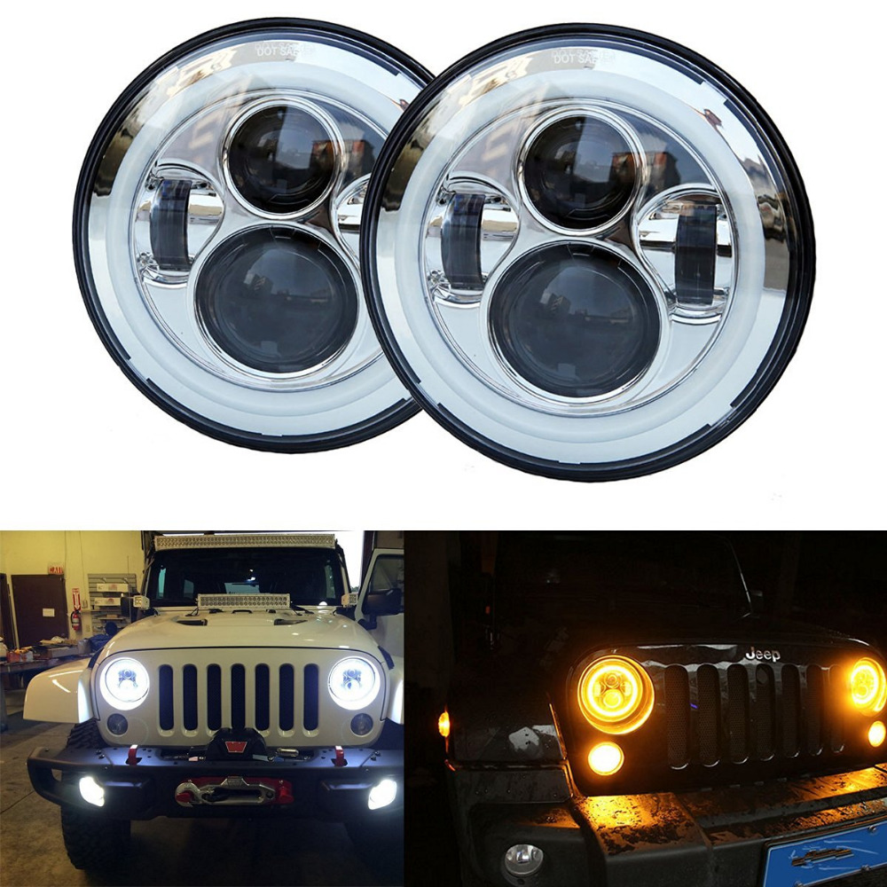 1Pair 7 Inch Round LED Headlights Sealed Beam Assembly Amber Halo Turn Signal & DRL For Jeep Wrangler JK LJ TJ CJ Hummer H1 & H2 7 led halo headlights for jeep wrangler jk jku tj lj rubicon sahara unlimited white drl amber turn signal 4 halo fog light