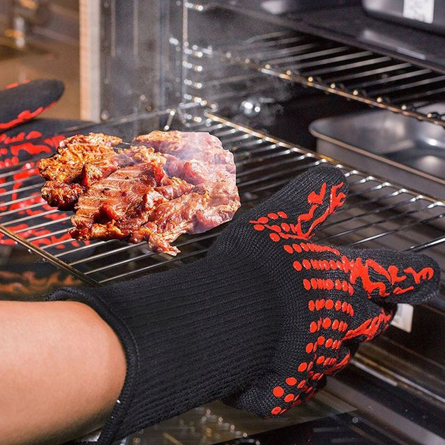 1 Pair Heat Resistant Thick Silicone Cooking Baking Barbecue Oven Gloves BBQ Grill Mittens Dish Washing Gloves Kitchen Su 1