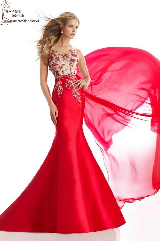 Vestido largo rojo prom 2015 MP1390 abendkleider elegant rebordear ...