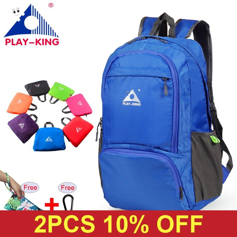 PLAYKING Nylon Foldable Backpack Waterproof Ultralight Backpack Folding Lightweight Outdoor Travel Sport Hiking Bag 30L 40L